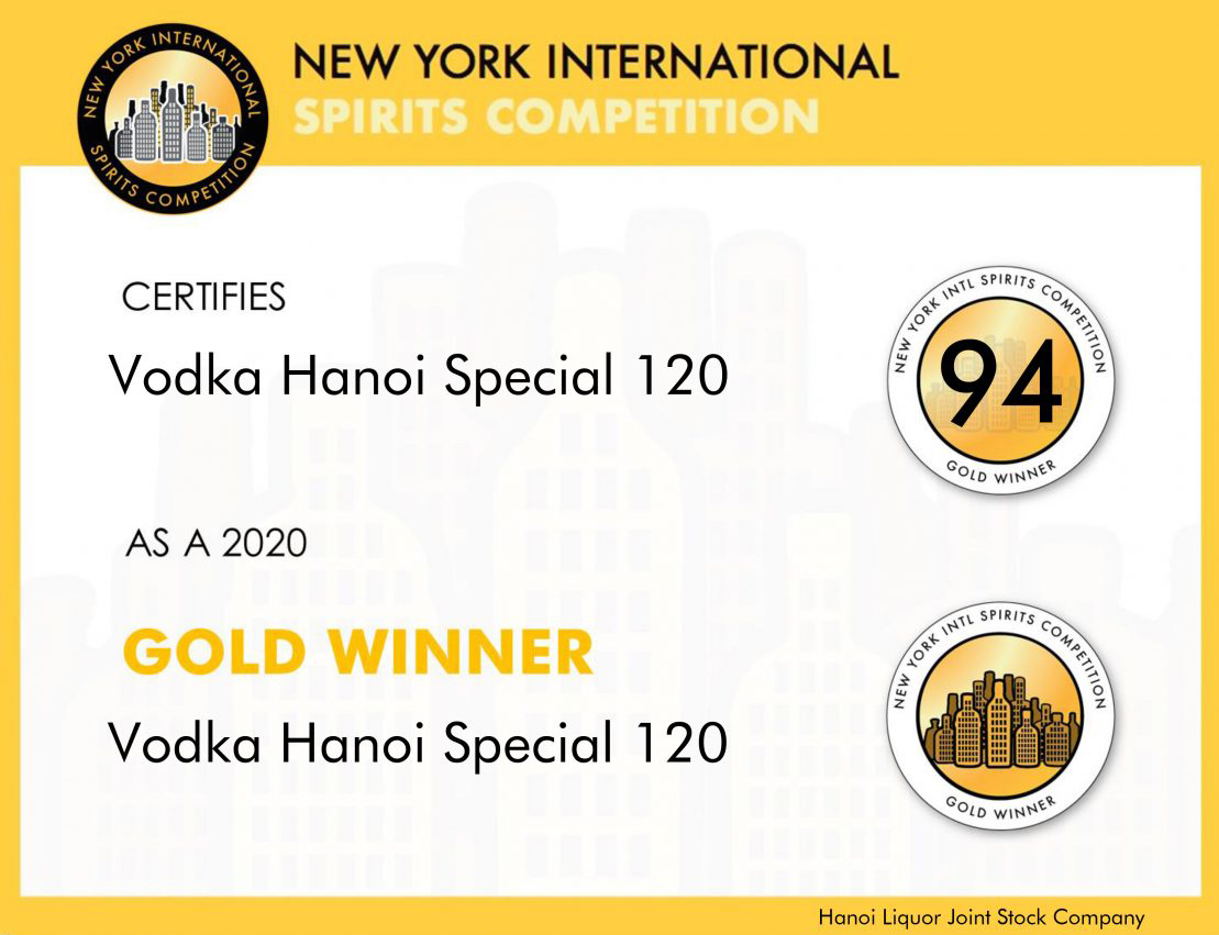 Giải Vàng dòng sản phẩm rượu vodka cho sản phẩm <br>Vodka Hà Nội Special 120